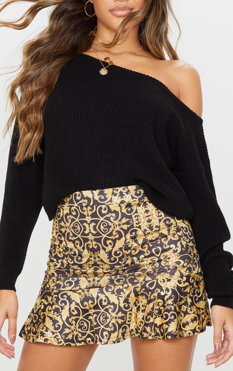 Black Chain Print Flippy Hem Mini Skirt 6