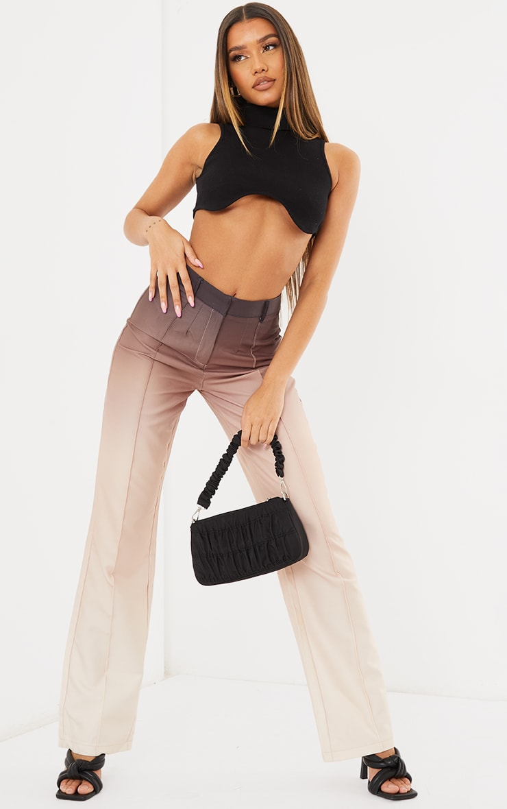 Taupe Ombre Woven Straight Leg Tailored Pants 1