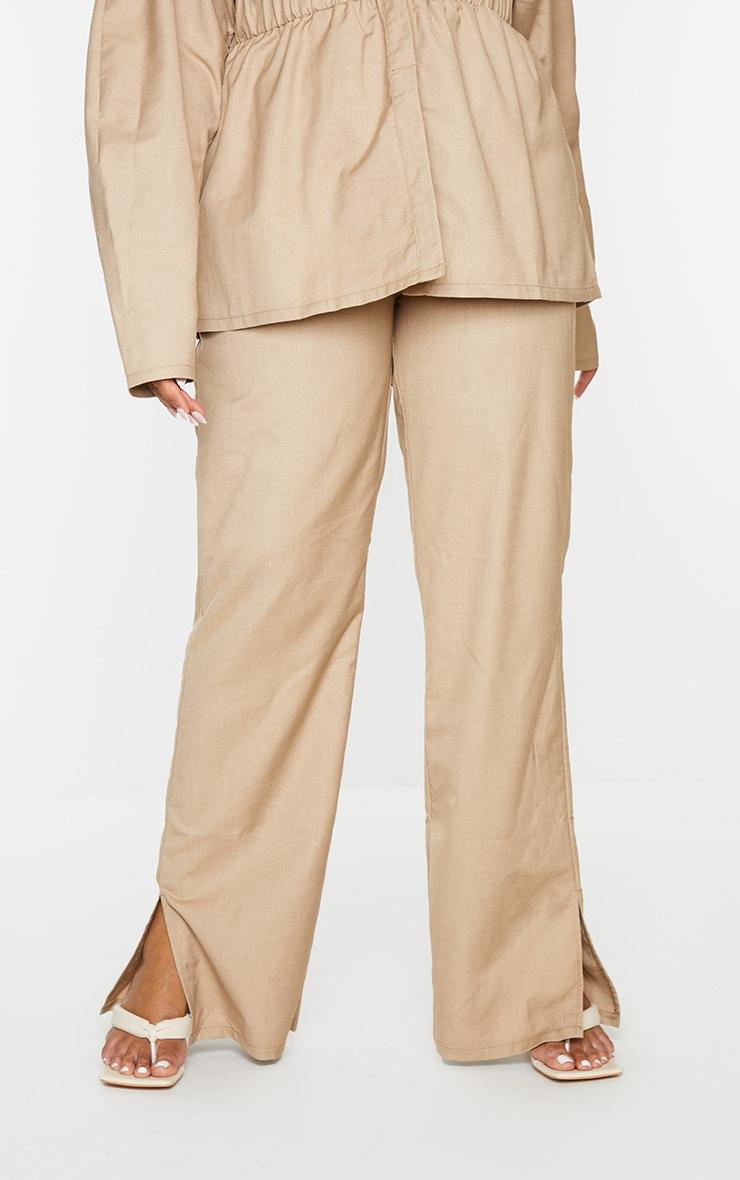Plus Camel Elasticated Waist Wide Leg Trousers 2