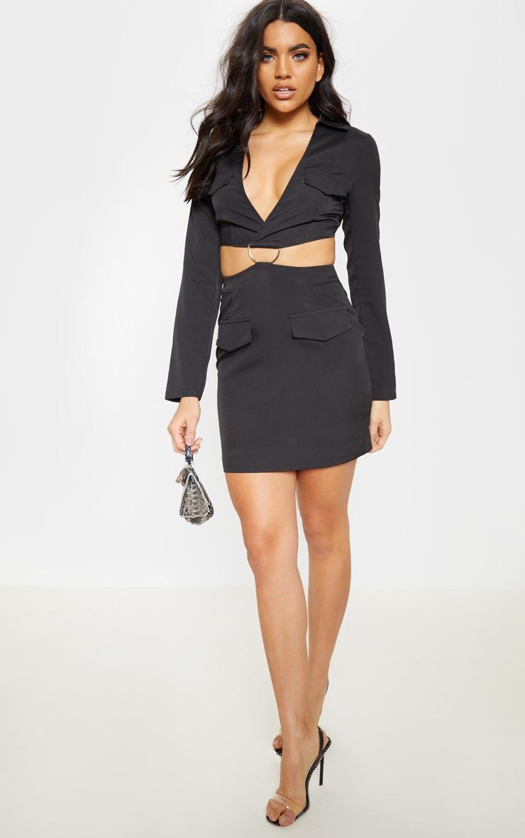 Black Utility Cut Out Bodycon Dress 1