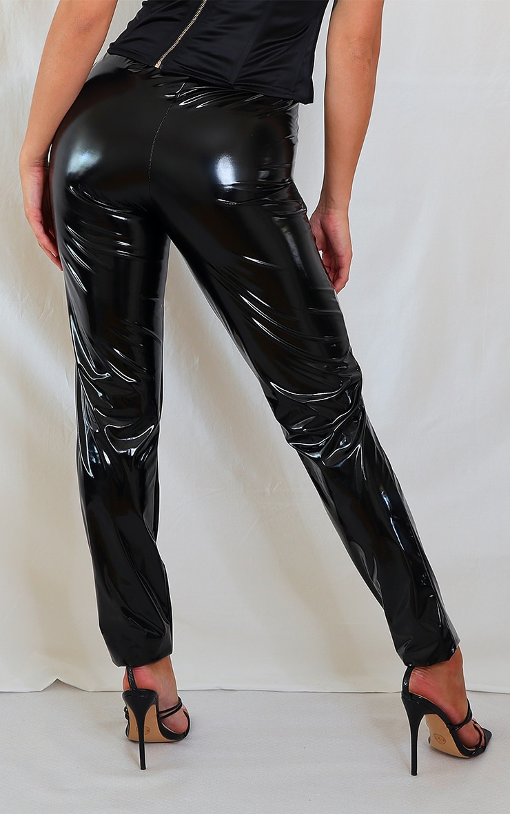 Black Faux Leather Dip Waist Skinny Trousers 3