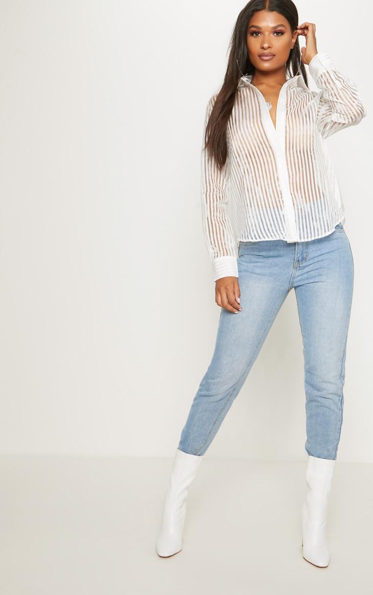White Stripe Sheer Oversized Shirt 4