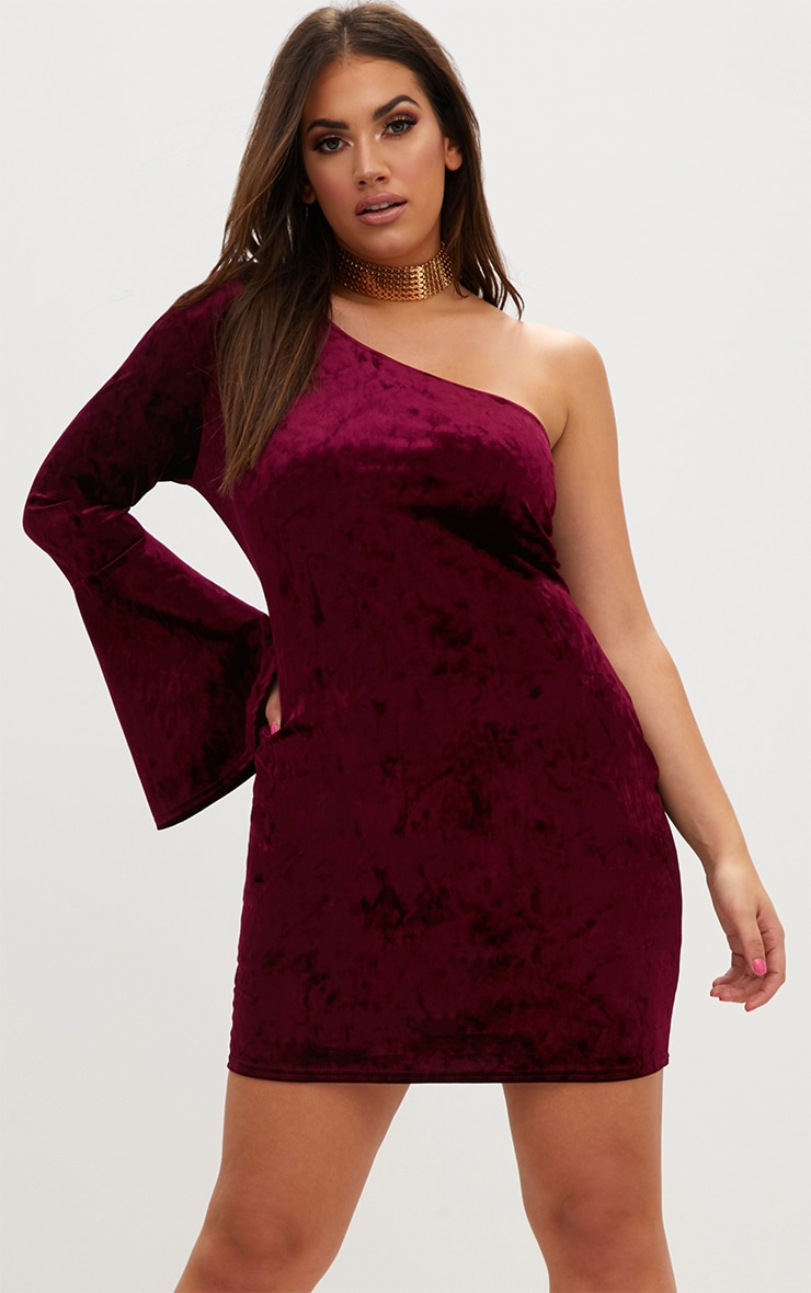 Plus Burgundy Crushed Velvet One Shoulder Bodycon Dress 1