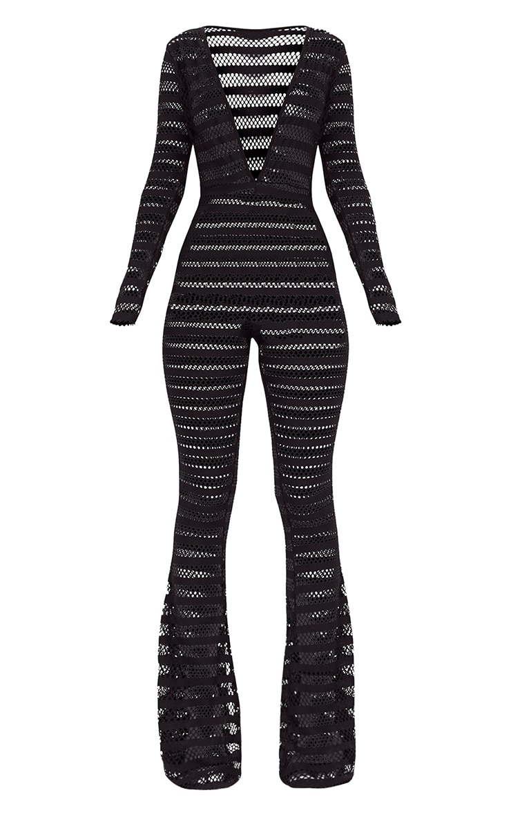 Black Knitted Long Sleeve Plunge Wide Leg Jumpsuit 3