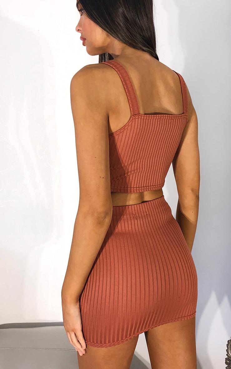 Rust Mini Rib Skirt 3