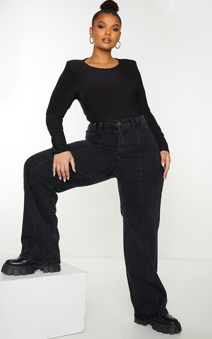 Plus Black Vintage Wash Seam Front Wide Leg Jeans 1