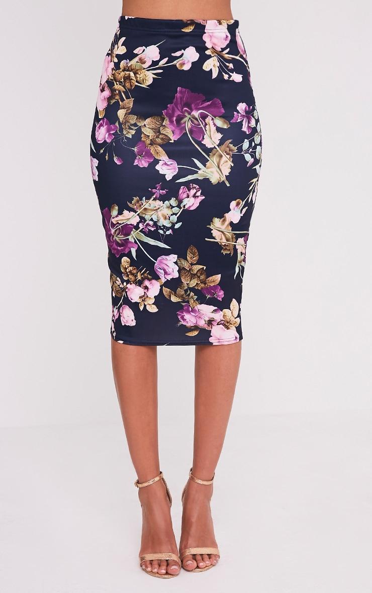Francesca Plum Floral Print Midi Skirt 2