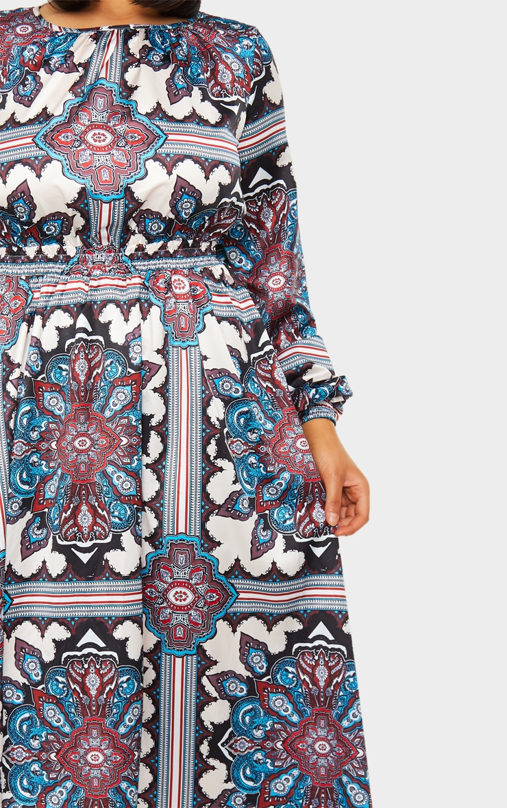 Blue Paisley Print Crew Neck Elastic Waist Midi Dress 4