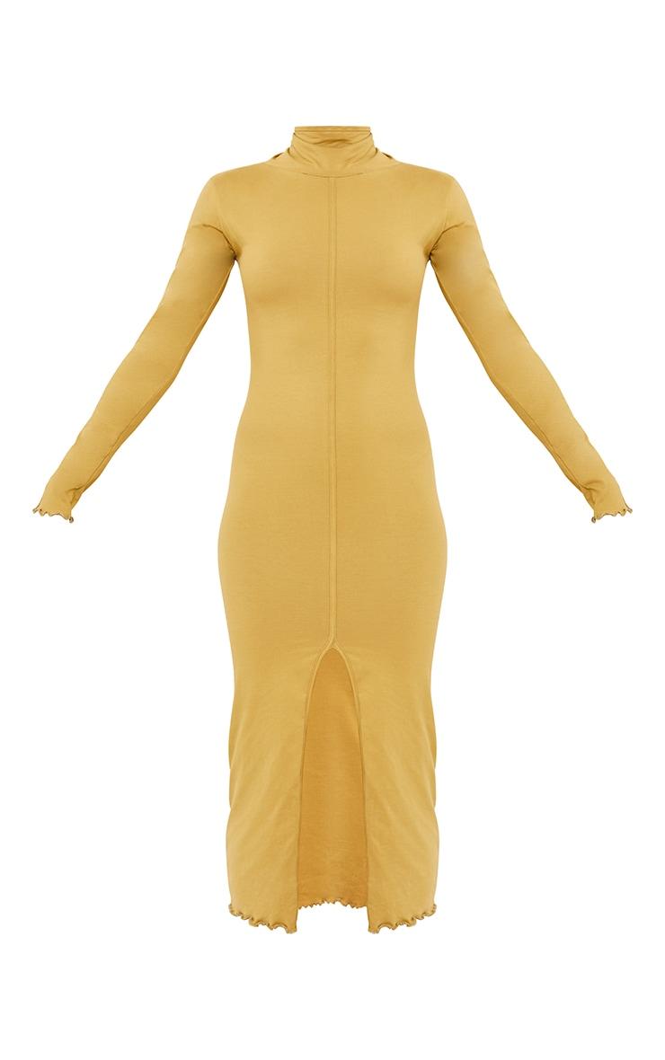 Olive Cotton Split Front Lettuce Hem Midaxi Dress 5