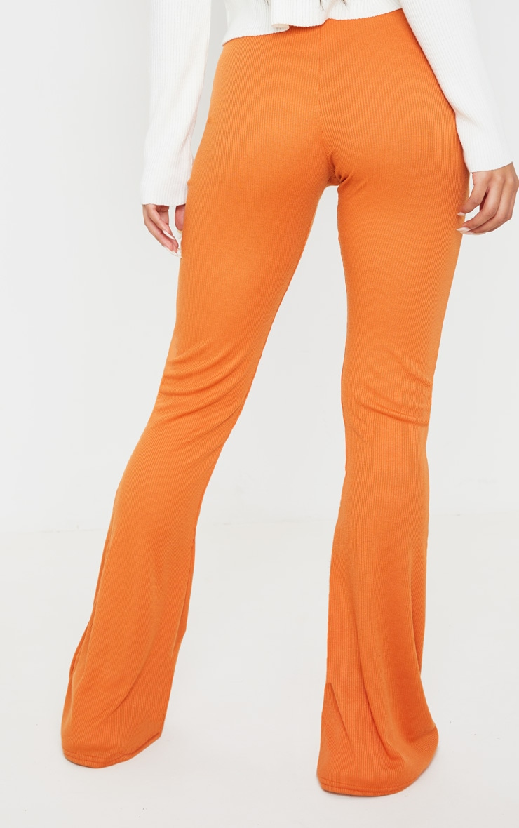 Burnt Orange Ribbed Flared Pants 4