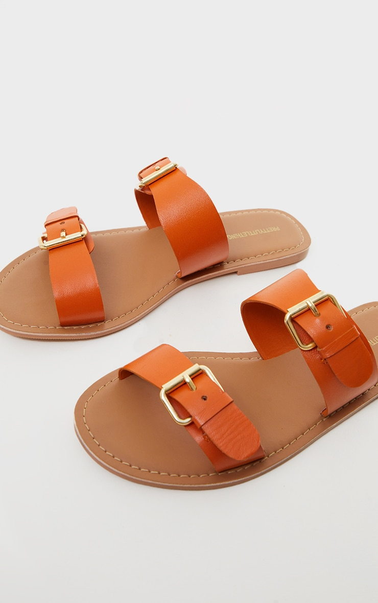 Burnt Orange Wide Fit Real Leather Buckle Detail Double Strap Mule Sandals 4