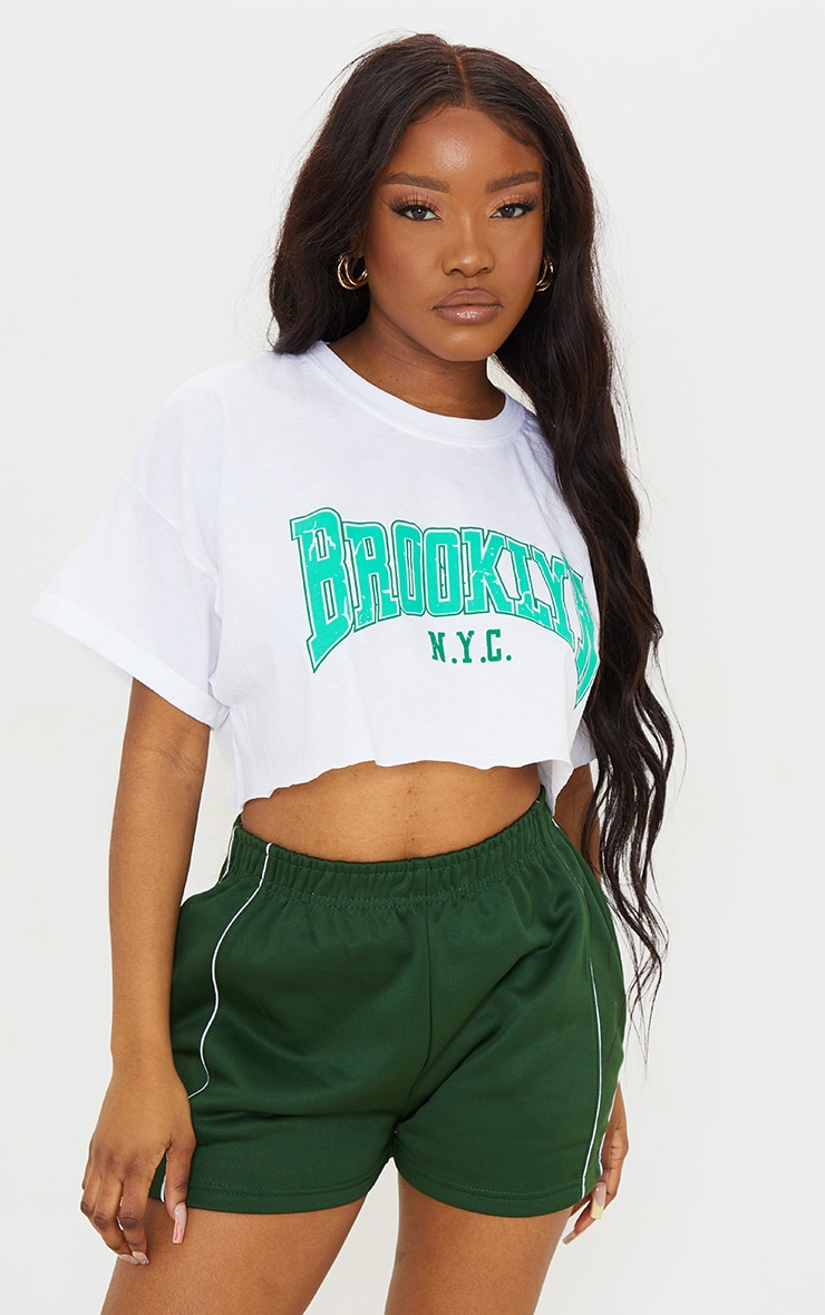 White Brooklyn Printed Washed Cropped T Shirt 1