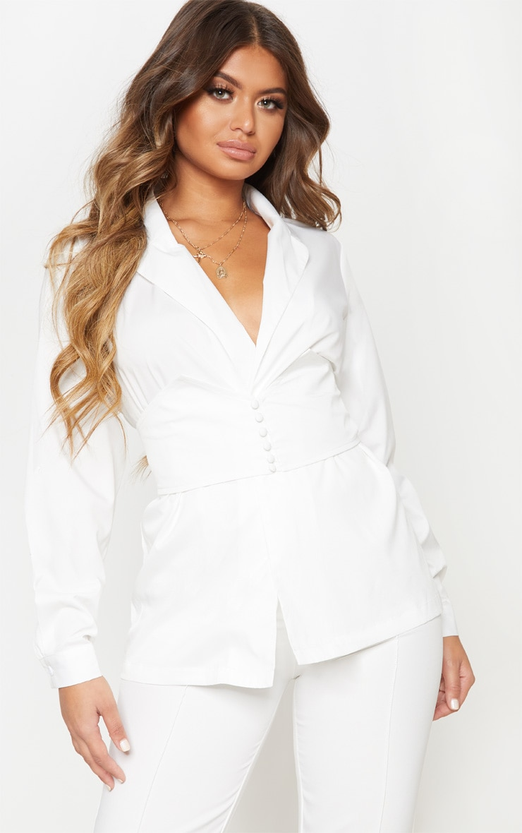 White Belted Detail Oversized Shirt