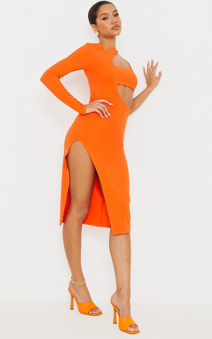 Orange Ribbed One Shoulder Cut Out Detail Midi Dress 3