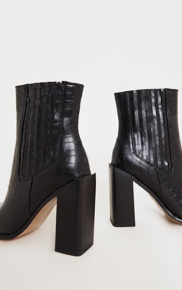 Black Snake Block Heel Square Toe Western Boot 4
