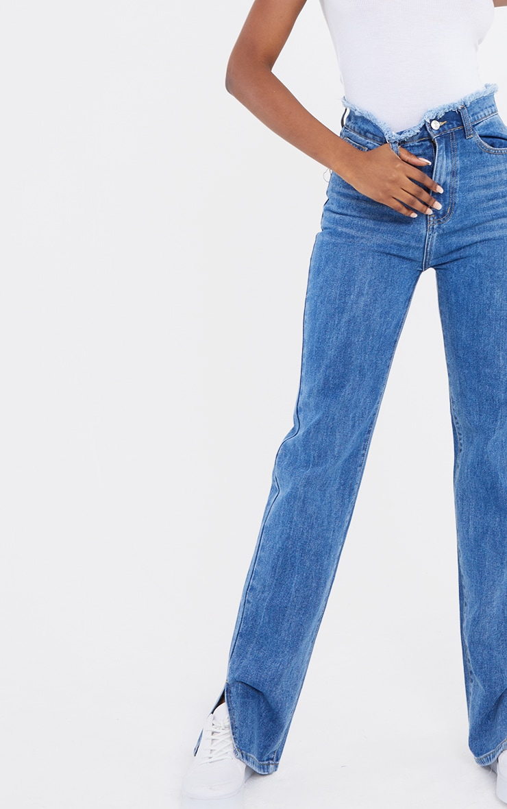 Tall  Mid Blue Distressed Waistband Split Hem Jeans 4