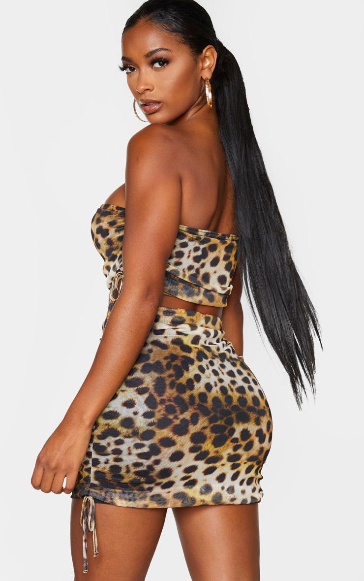 Shape Brown Leopard Print Mesh Lace Up Side Crop Top 2