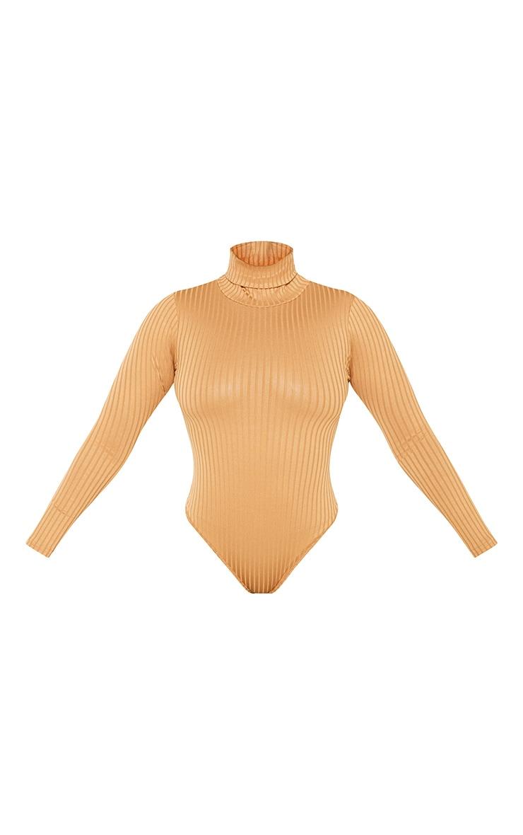 Petite Camel Rib Roll Neck Long Sleeve Bodysuit 3
