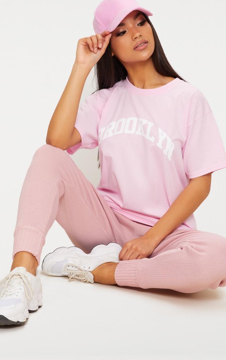 Pink Brooklyn Slogan Oversized T Shirt 2