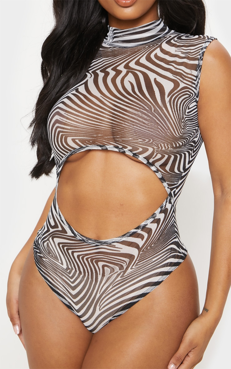 Shape White Zebra Print Sheer Mesh Cut Out High Neck Bodysuit 6