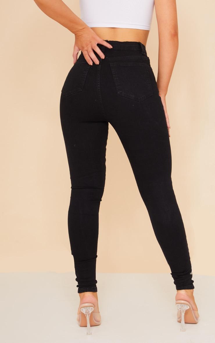 PRETTYLITTLETHING - Jean skinny noir déchiré aux genoux à 5 poches 3