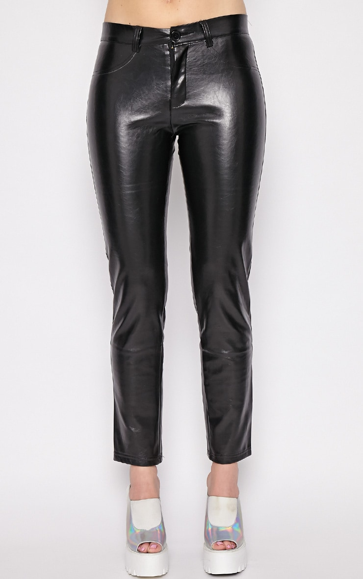 Hanna Black PU Trousers 5