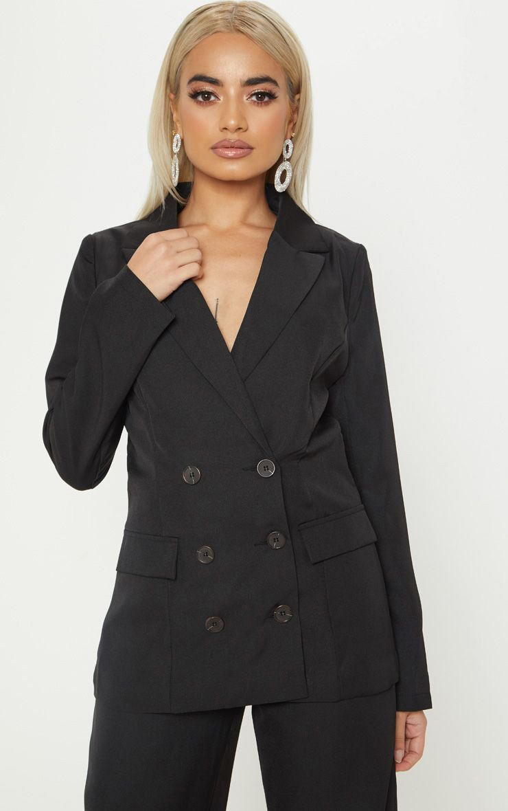 Petite Black Oversized  Button Detail Blazer 1