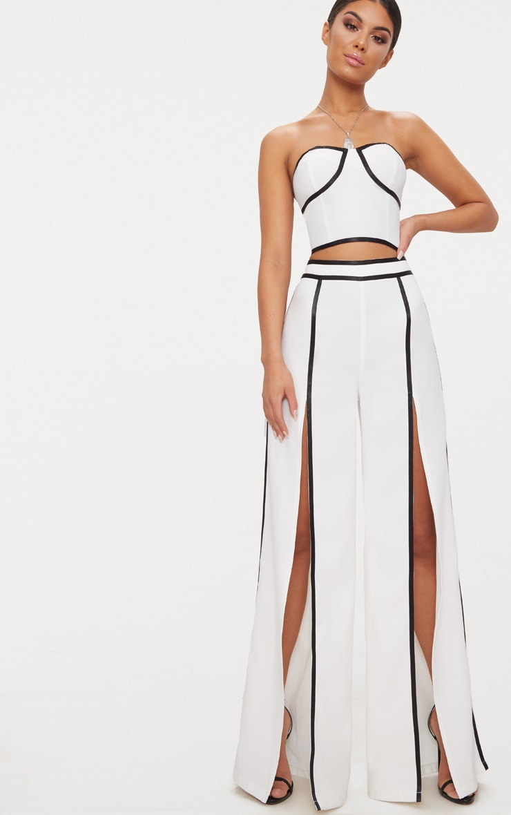 White Contrast Binding Split Front Wide Leg Trouser 1