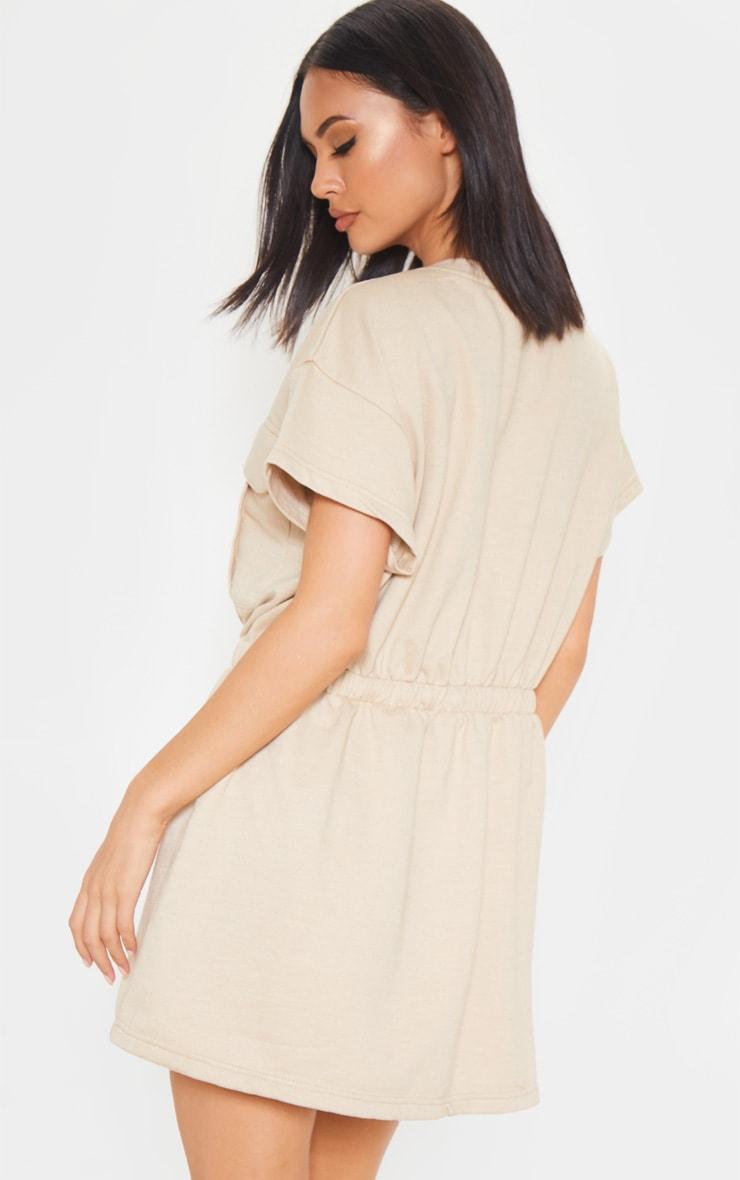 Sand Pocket Front Tie Waist Sweater Dress 2