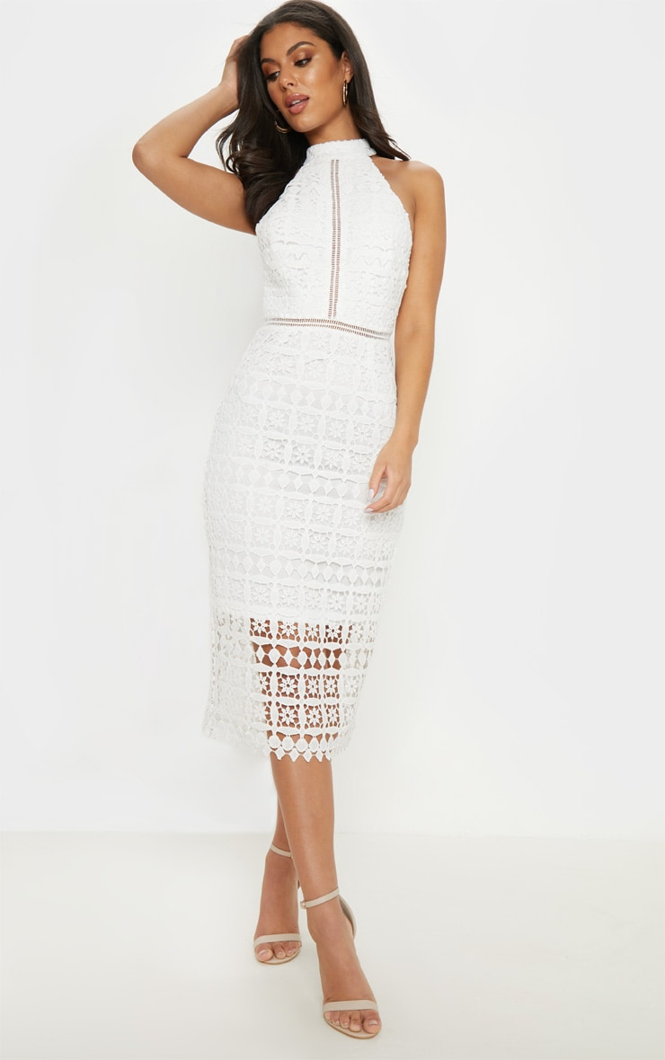 2ff1a3ae8821 White Lace High Neck Strappy Back Midi Dress image 1