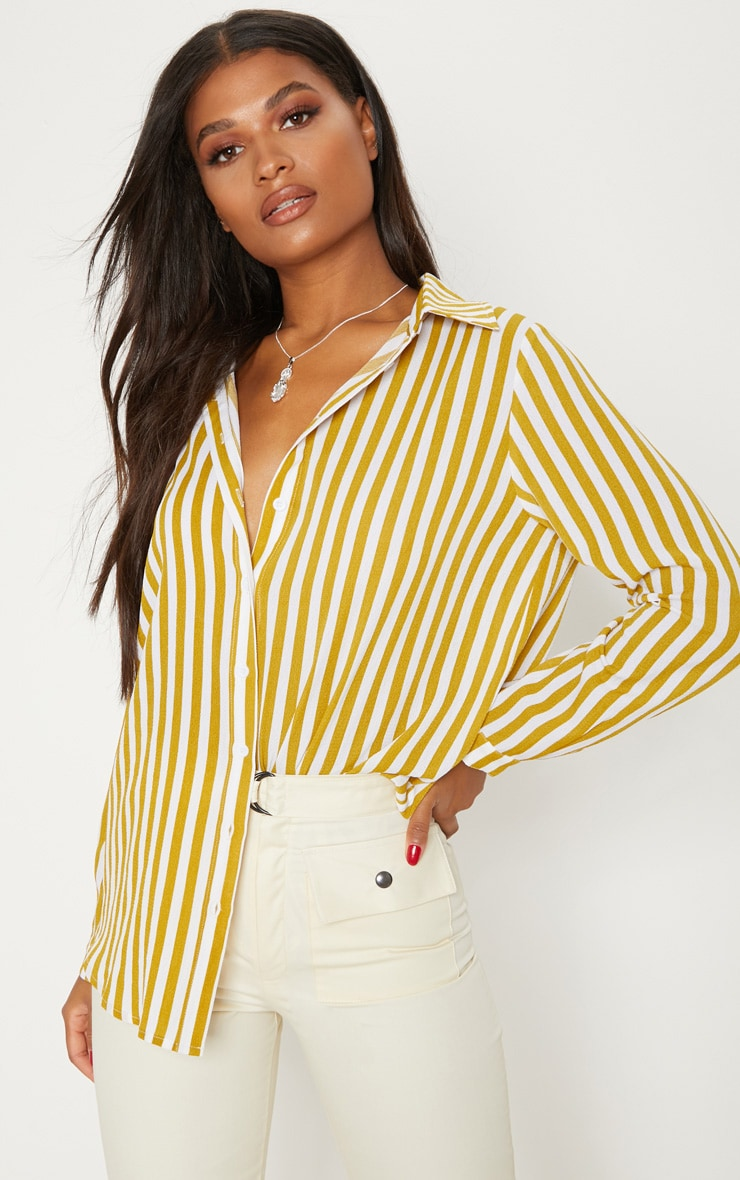 Mustard Stripe Oversized Shirt 1
