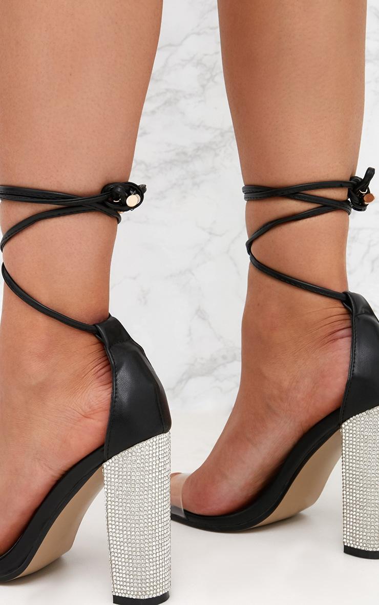 Black Lace Up Diamante Heels  5