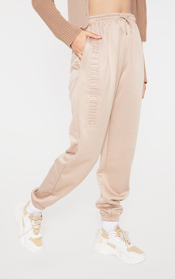 PRETTYLITTLETHING Stone Scuba Embossed Joggers 2