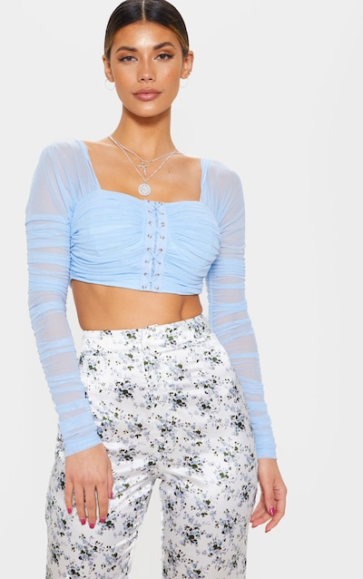 Light Blue Ruched Lace Up Detail Mesh Crop Top