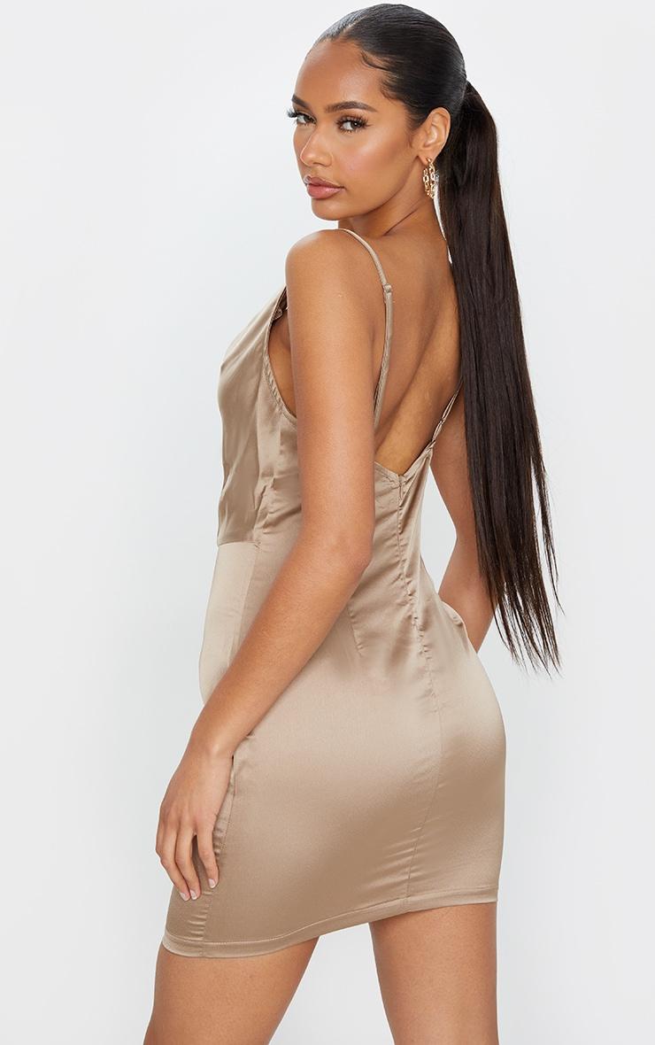 Gold Satin Cowl Neck Slip Dress 2
