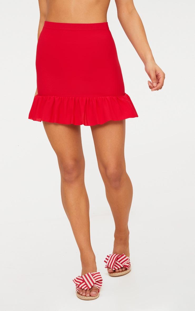 Red Frill Hem Mini Skirt  2