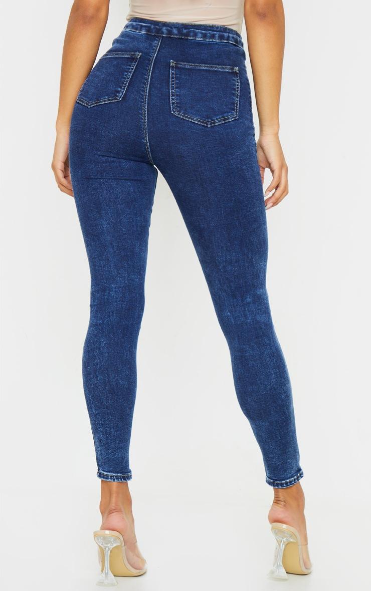 PRETTYLITTLETHING Washed Indigo Disco Skinny Jean 3