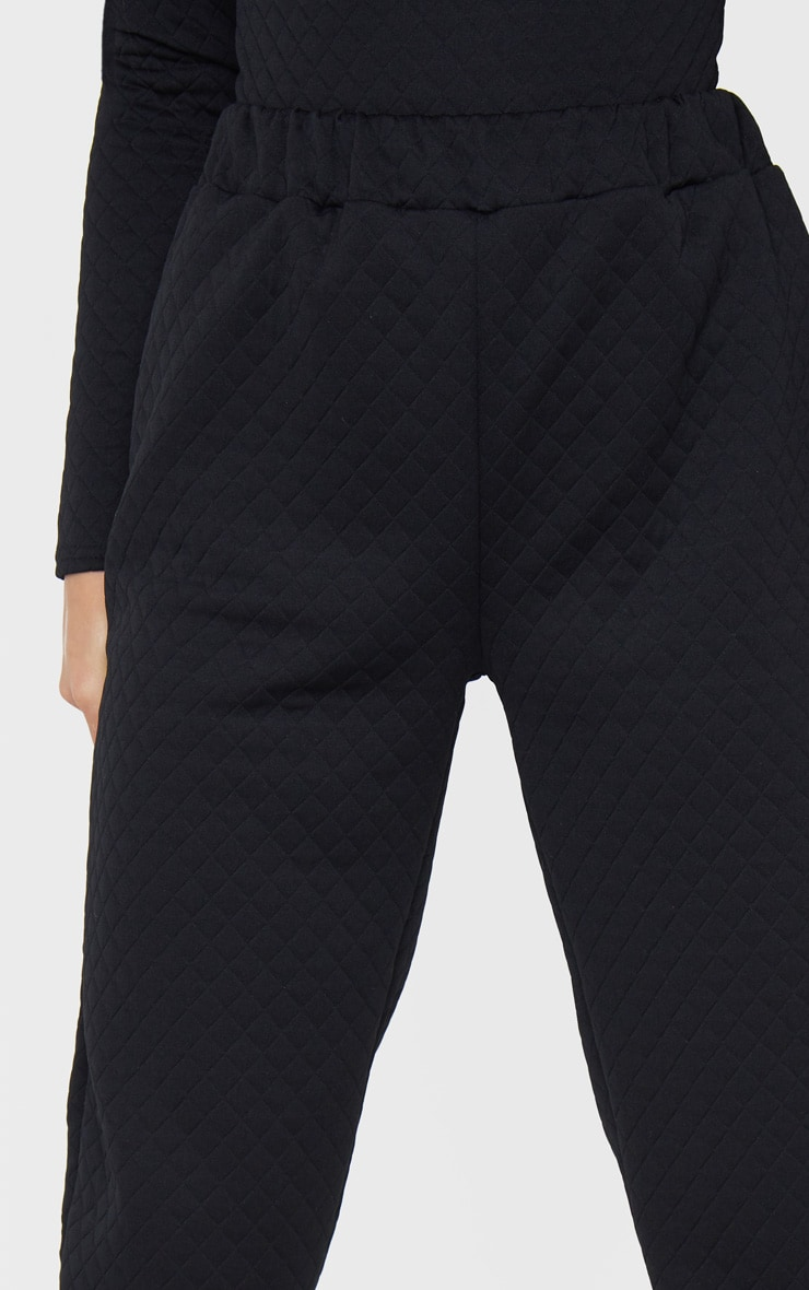 Petite Black Oversized Quilted Track Pants 4