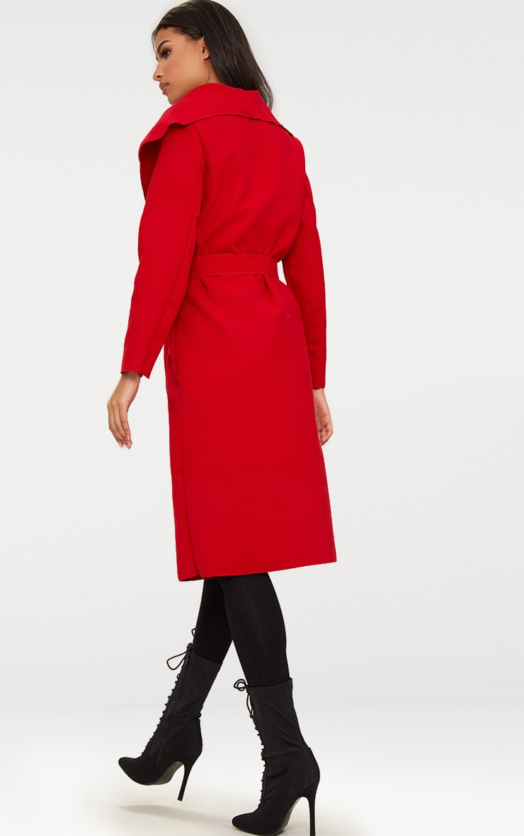 Veronica Red Oversized Waterfall Belted Coat 2