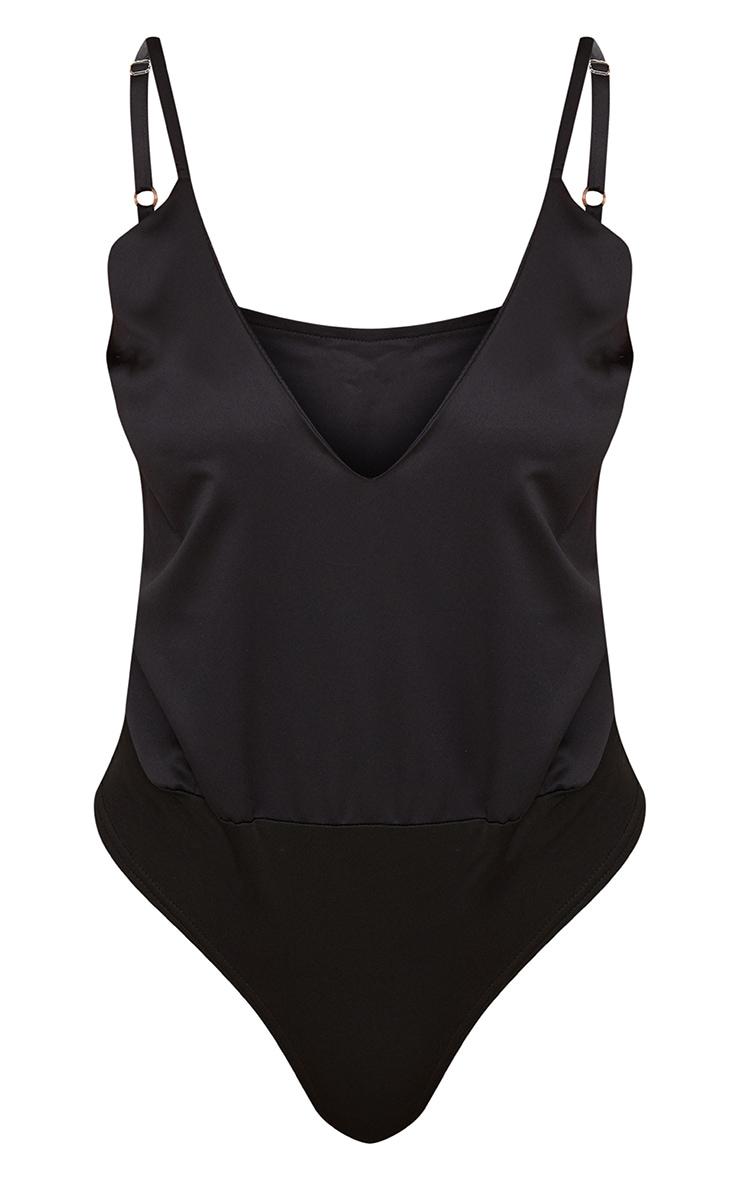 Black Satin Plunge Strappy Thong Bodysuit  3