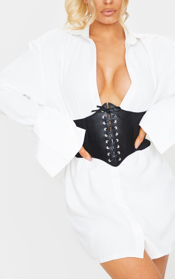 Black PU Lace Up Corset Belt 1
