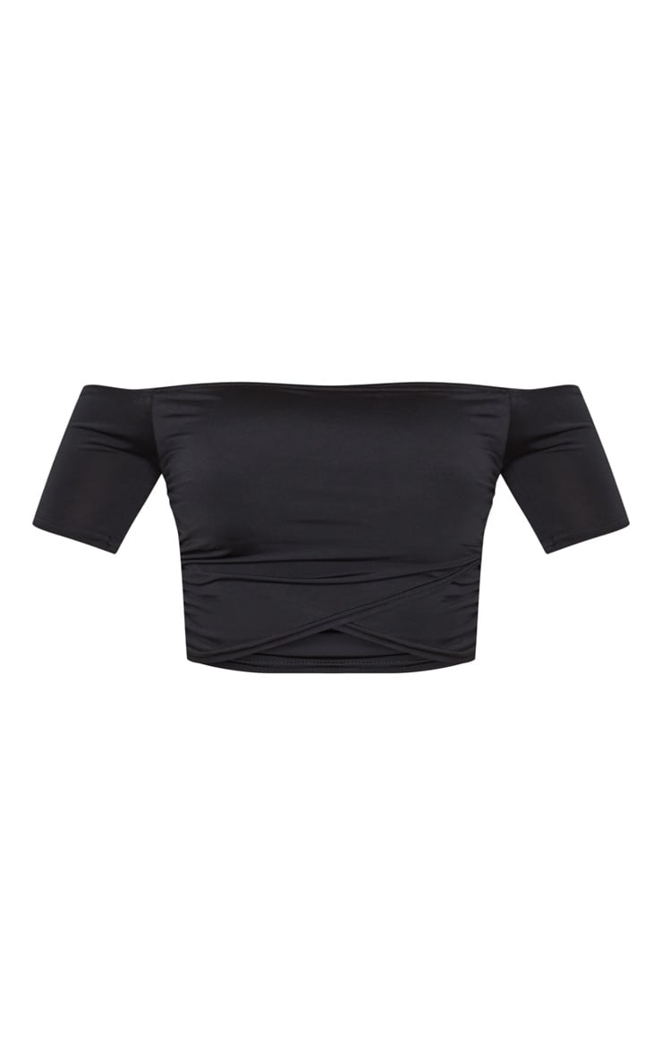 Shape Black Slinky Ruched Bardot Short Sleeve Crop Top 3