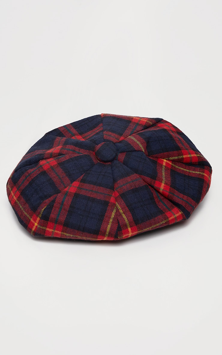 Red and Navy Tartan Beret 2