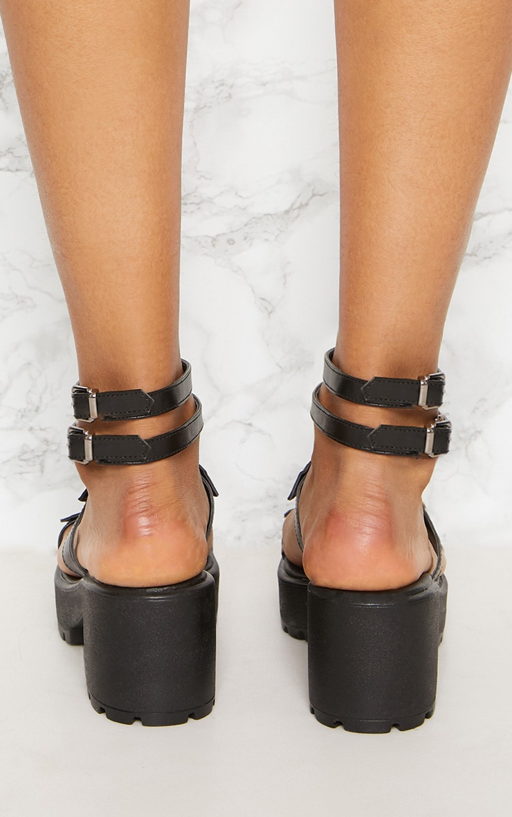 Black Ring Detail Gladiator Chunky Sandal 4