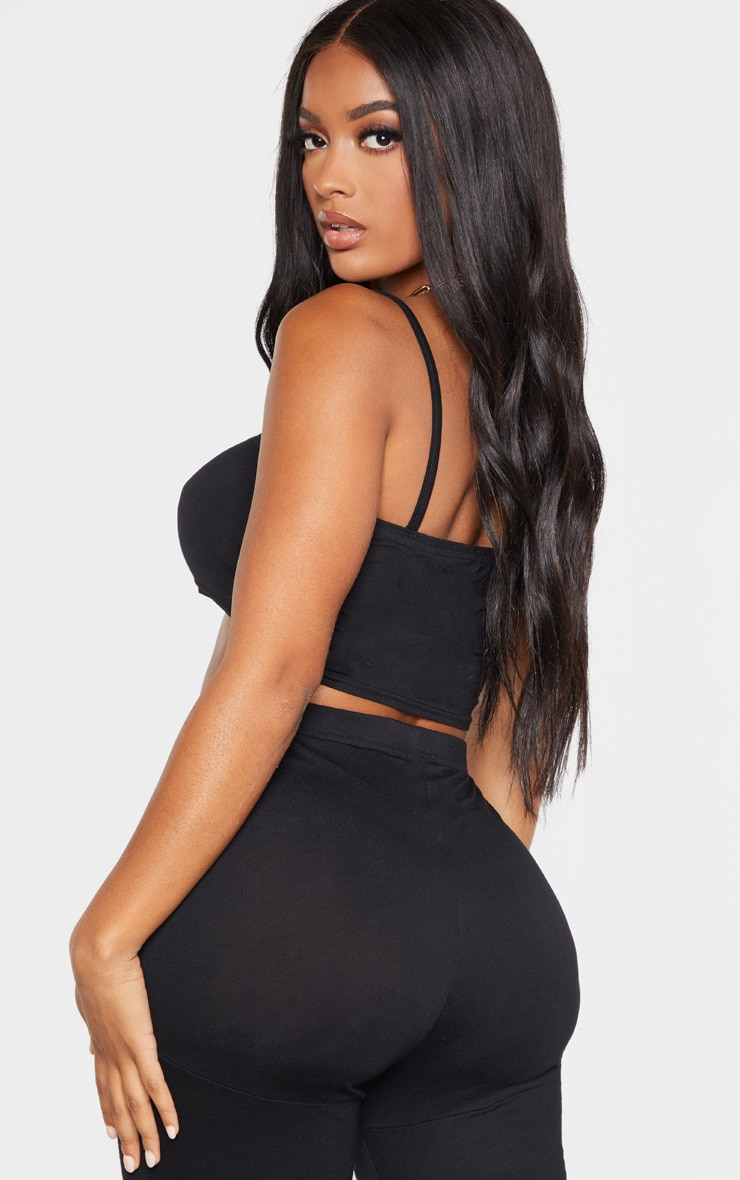 Shape Black Jersey Strappy Straight Neck Crop Top 2