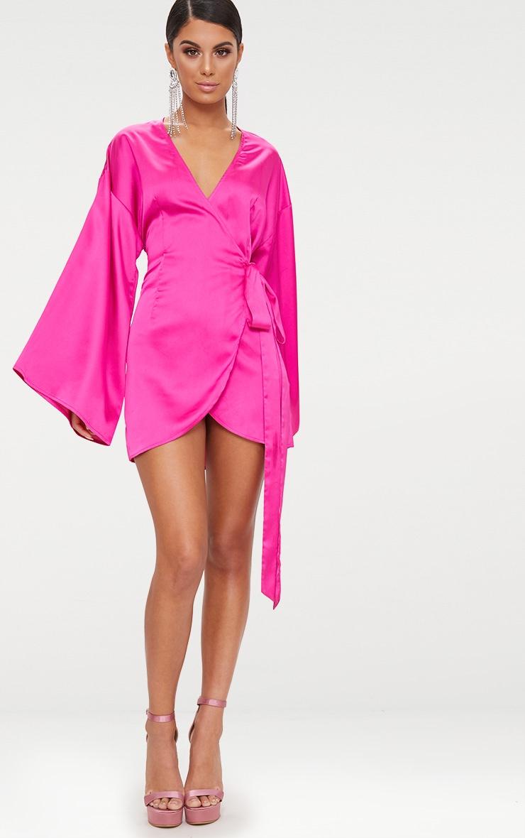 Fuchsia Wrap Long Kimono Sleeve Dress  5