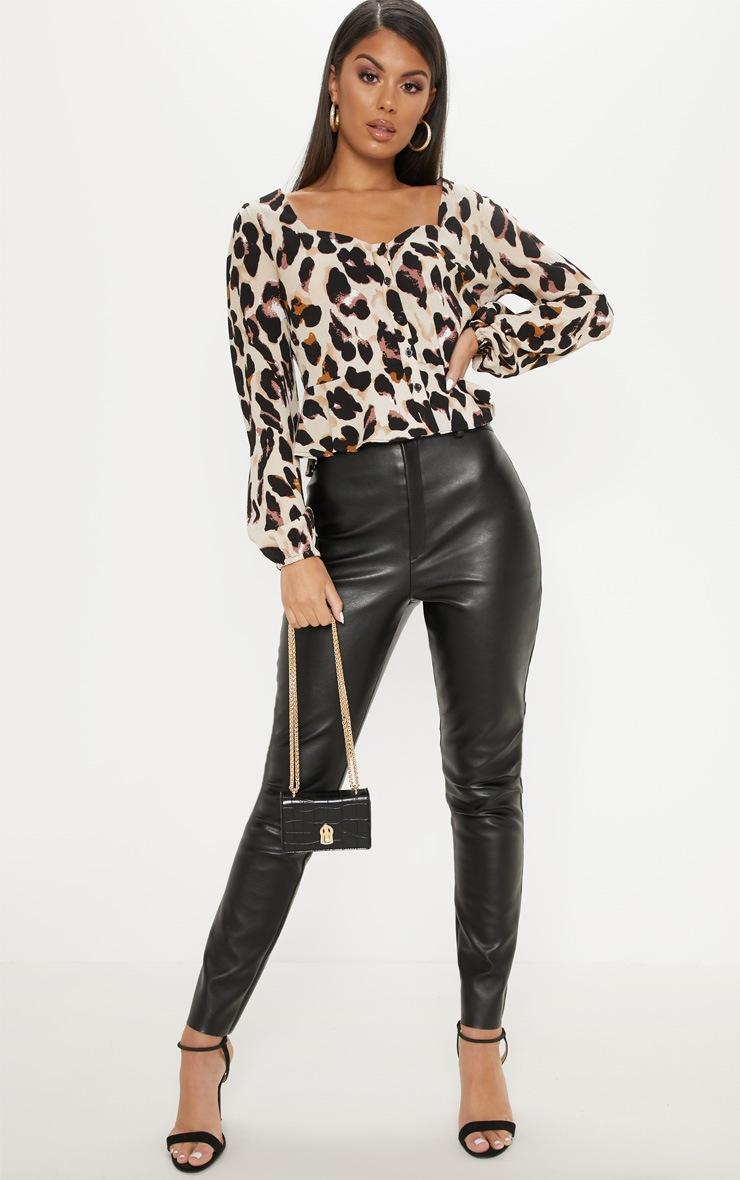 Tan Leopard Peplum Blouse 4