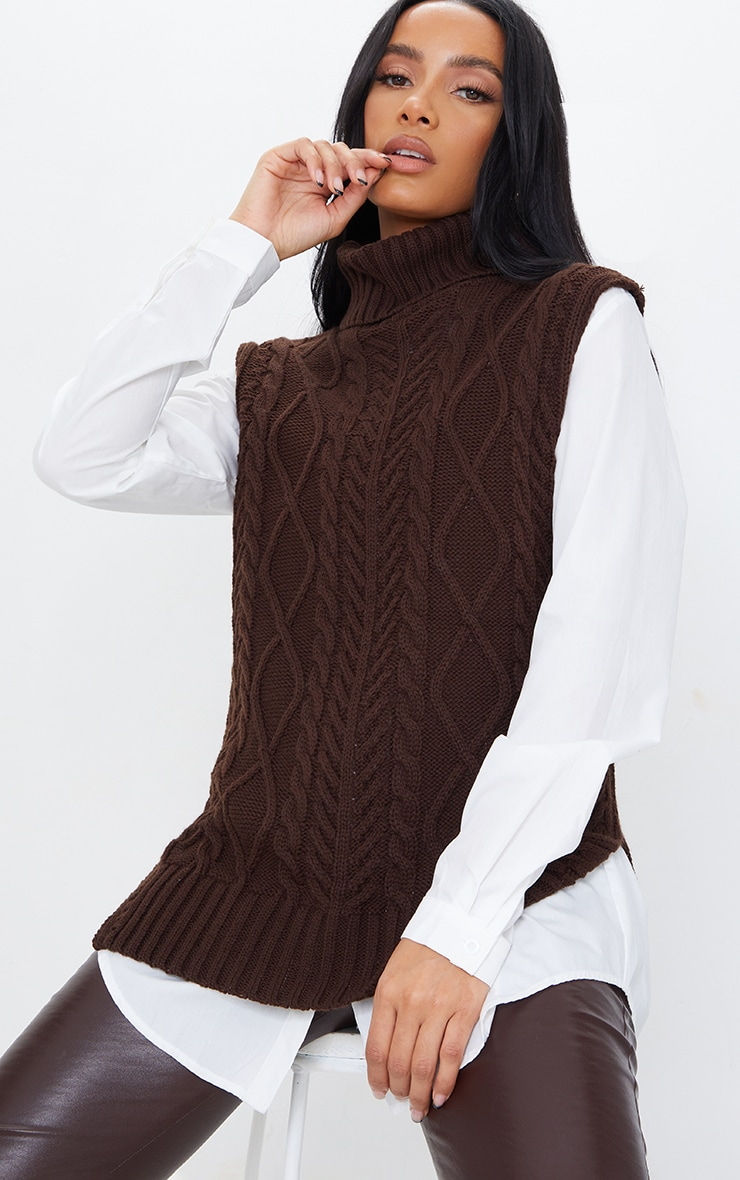 Chocolate Longline Sleeveless Cable Roll Neck Sweater 1