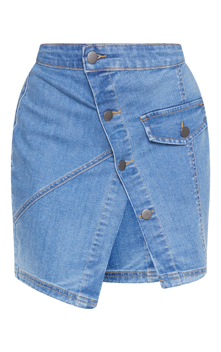 Petite Mid Wash Reworked Denim Skirt 3
