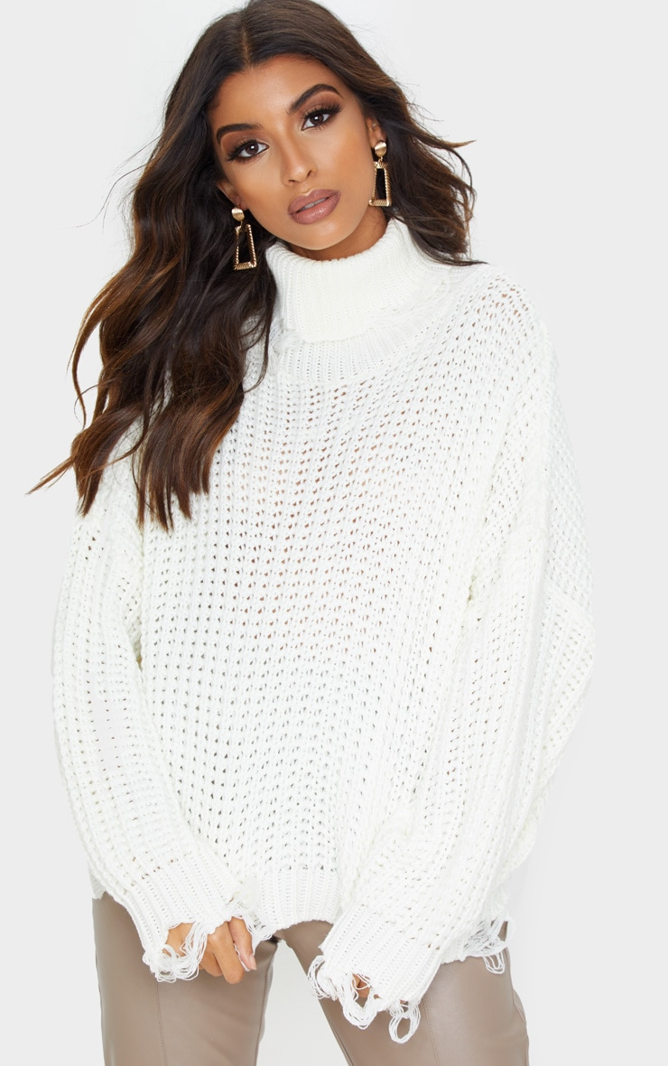 Ivory Distressed Detail Roll Neck Jumper 1